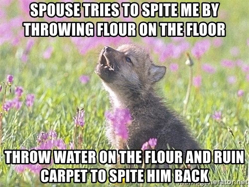 Baby Insanity Wolf - Spouse tries to spite me by throwing flour on the floor throw water on the flour and ruin carpet to spite him back