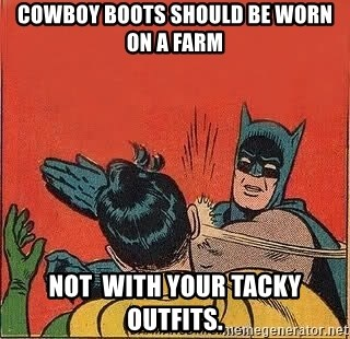 batman slap robin - Cowboy boots should be worn on a farm not  with your tacky outfits.