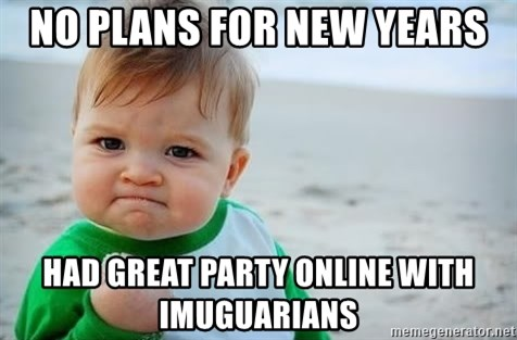 fist pump baby - NO PLANS FOR NEW YEARS HAD GREAT PARTY ONLINE WITH IMUGUARIANS