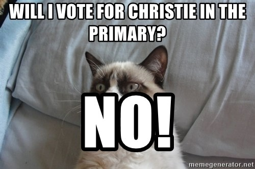 Grumpy cat good - will i vote for christie in the primary? no!