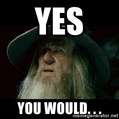 no memory gandalf - yes you would. . .