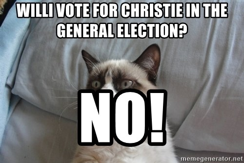 Grumpy cat good - willi vote for christie in the general election? no!