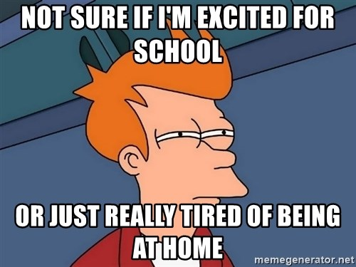 Futurama Fry - Not sure if i'm excited for school or just really tired of being at home