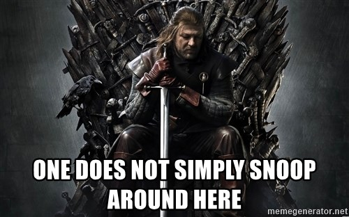 Eddard Stark -  one does not simply snoop around here