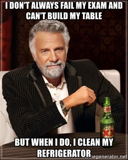 The Most Interesting Man In The World - i don't always fail my exam and can't build my table but when i do, i clean my refrigerator