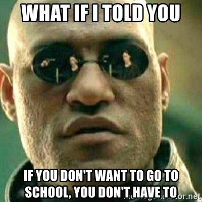 What If I Told You - What if i told you if you don't want to go to school, you don't have to