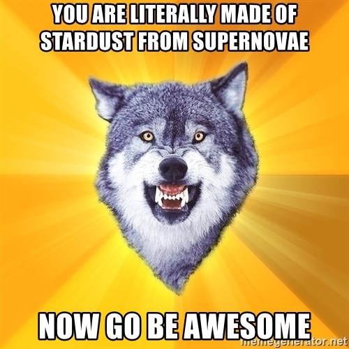 Courage Wolf - You are literally made of stardust from supernovae Now go be awesome