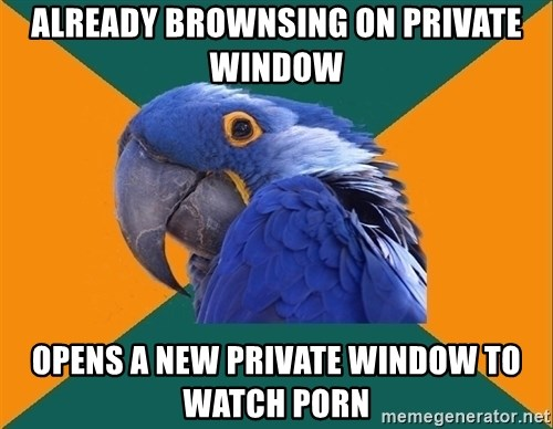 Paranoid Parrot - already brownsing on private window opens a new private window to watch porn