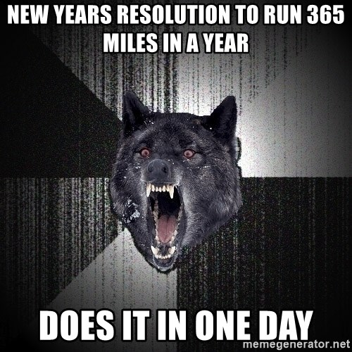 Insanity Wolf - new years resolution to run 365 miles in a year does it in one day