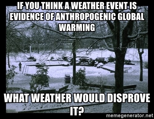 UVIC SNOWDAY - If you think a weather event is evidence of anthropogenic global warming what weather would disprove it?