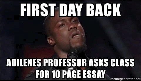 kevin hart playoffs - First day back  Adilenes professor asks class for 10 page essay