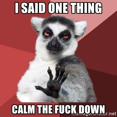 Chill Out Lemur - I said one thing calm the fuck down