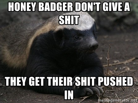 Honey Badger - honey badger don't give a shit they get their shit pushed in