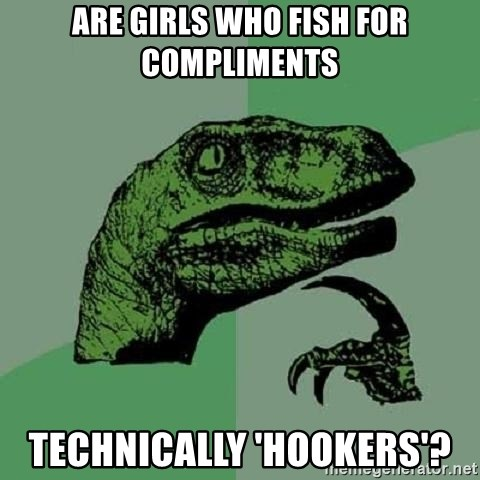 Philosoraptor - ARE GIRLS WHO FISH FOR COMPLIMENTS TECHNICALLY 'HOOKERS'?