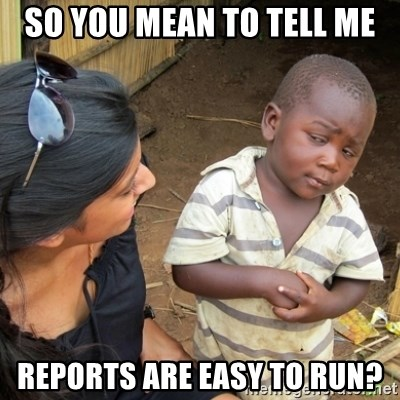 Skeptical 3rd World Kid - So you mean to tell me reports are easy to run?