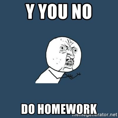 y you no - y you no do homework