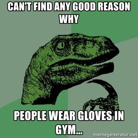 Philosoraptor - Can't find any good reason why people wear gloves in gym...