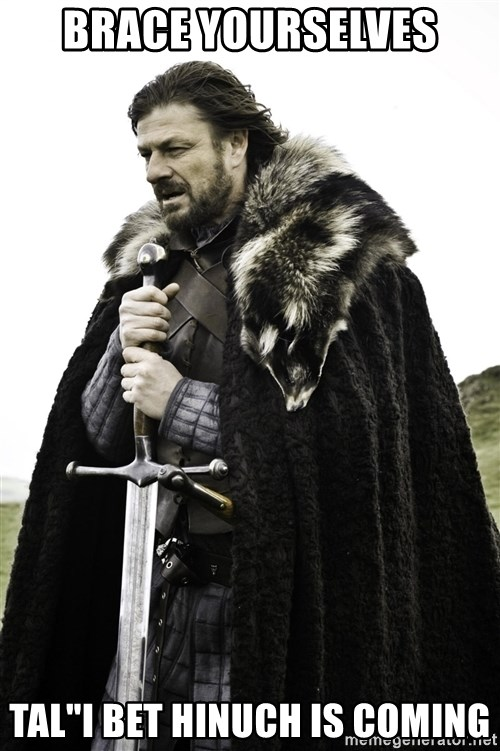 "Brace Yourself Meme - Brace yourselves Tal""i bet hinuch is coming"