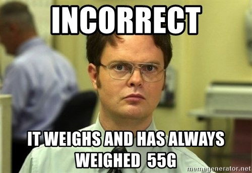 Dwight Meme - INCORRECT IT WEIGHS AND HAS ALWAYS WEIGHED  55G