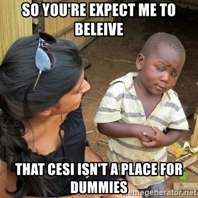 skeptical black kid - So you're expect me to beleive That cesi isn't a place for dummies