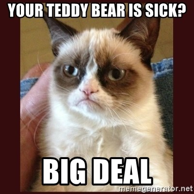 Tard the Grumpy Cat - your teddy bear is sick? big deal