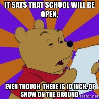 Skeptical Pooh - It says that school will be open,  EVEN though  THERE IS 10 INCH. OF SNOW ON THE GROUND