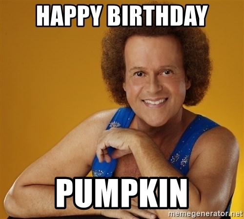 Gay Richard Simmons - HAPPY BIRTHDAY PUMPKIN