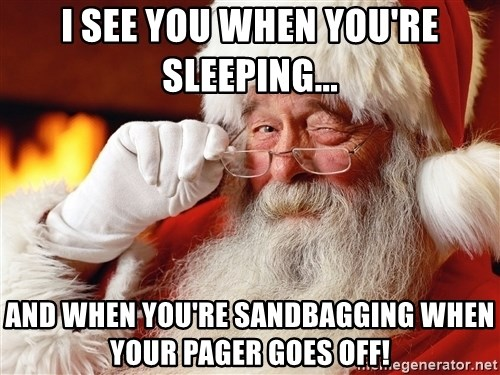 Capitalist Santa - I see you when you're sleeping... and when you're sandbagging when your pager goes off!