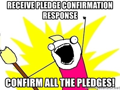 X ALL THE THINGS - RECEIVE PLEDGE CONFIRMATIon response CONFIRM ALL THE PLEDGES!