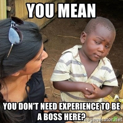Skeptical 3rd World Kid - you mean you don't need experience to be a boss here?