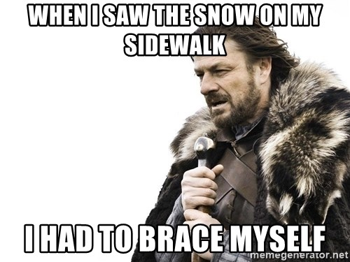 Winter is Coming - when I saw the snow on my sidewalk I had to brace myself
