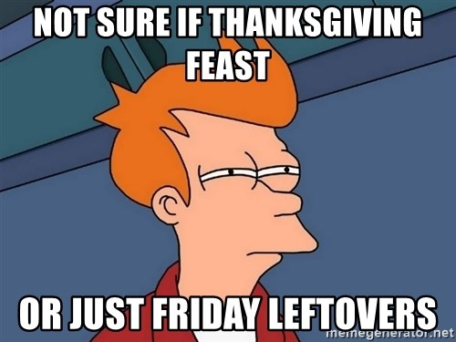 Futurama Fry - Not sure if thanksgiving feast or just friday leftovers
