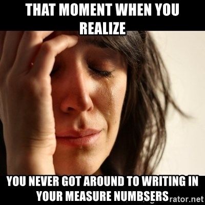 crying girl sad - That Moment when you realize you never got around to writing in your measure numbsers