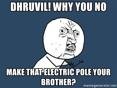 Y U No - Dhruvil! Why you no Make that electric pole your Brother?