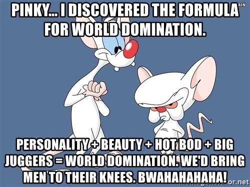 Pinky And The Brain - Pinky... I discovered the formula for world domination. personality + beauty + hot bod + big juggers = world domination. We'd bring men to their knees. Bwahahahaha!