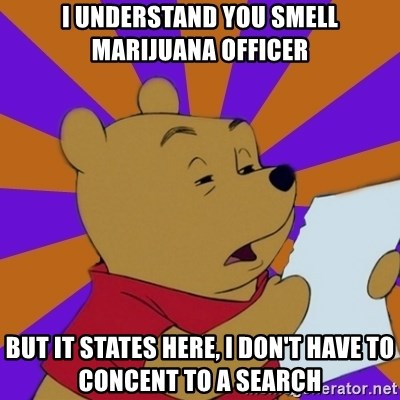 Skeptical Pooh - I understand you smell marijuana officer but it states here, I don't have to concent to a search