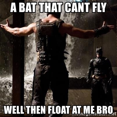 Bane Let the Games Begin - a bat that cant fly  well then float at me bro