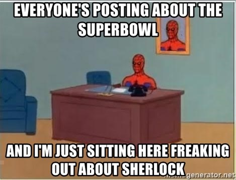 Spiderman Desk - Everyone's posting about the superbowl and I'm just sitting here freaking out about sherlock