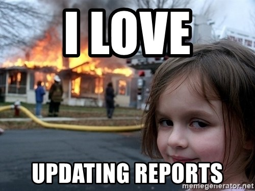 Disaster Girl - I Love UPdating reports
