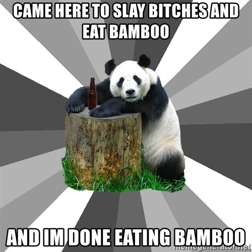 Pickup Line Panda - Came here to slay bitches and eat bamboo and im done eating bamboo