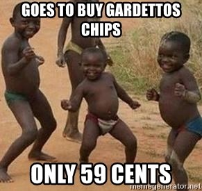 african children dancing - goes to buy Gardettos chips  only 59 cents