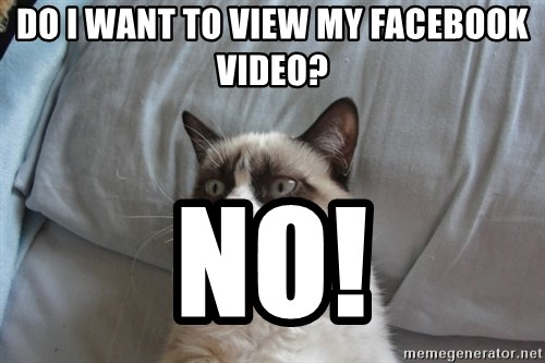 Grumpy cat good - do i want to view my facebook video? no!
