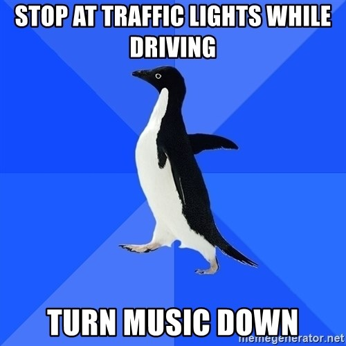 Socially Awkward Penguin - stop at traffic lights while driving turn music down