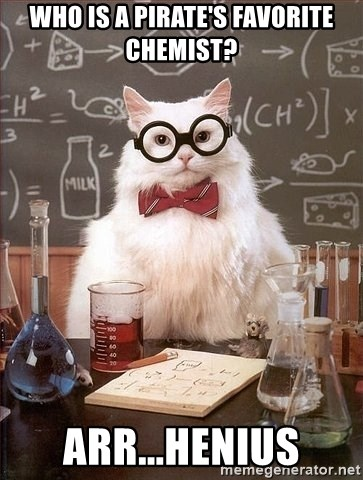 Chemistry Cat - Who is a pirate's favorite chemist? Arr...henius