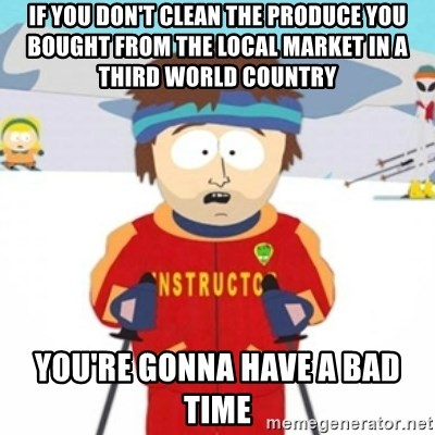 Bad time ski instructor 1 - If you don't clean the produce you bought from the local market in a third world country You're gonna have a bad time
