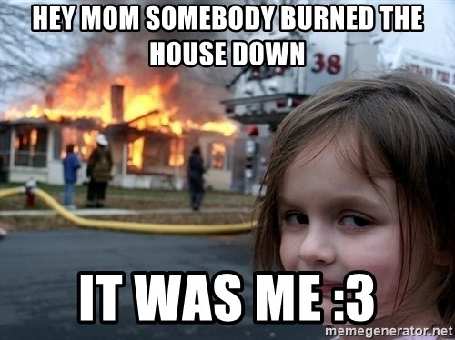 Disaster Girl - hey mom somebody burned the house down it was me :3
