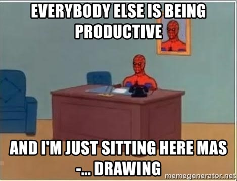 Spiderman Desk - Everybody else is being productive and i'm just sitting here mas-... drawing