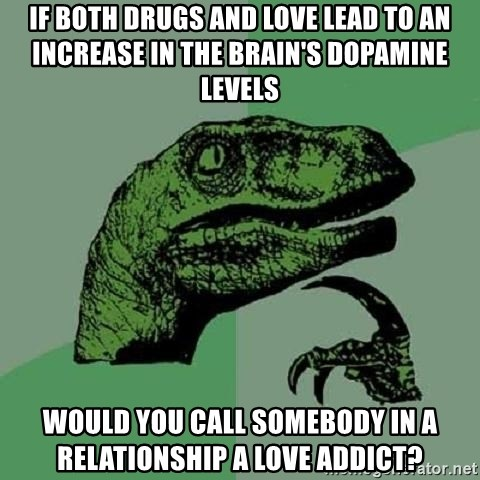 Philosoraptor - If both drugs and love lead to an increase in the brain's dopamine levels would you call somebody in a relationship a love addict?