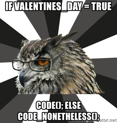 ITCS Owl - if valentines_day = true code(); else code_nonetheless();
