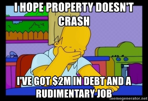 Homer Facepalm - I hope property doesn't crash I've got $2m in debt and a rudimentary job